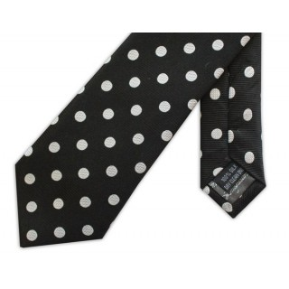 Polka Dot Black Silk Skinny Tie