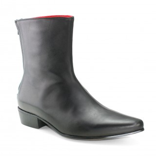 Discontinued : Back Zip Boot - Black Calf Leather