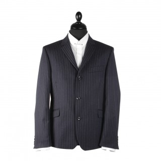 The Lennon Mod Jacket - Navy Blue Pinstripe