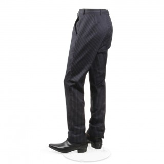 The Lennon Mod Trousers -  Navy Blue Pinstripe Drainpipe