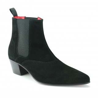 Winkle Picker Boot - Black Suede