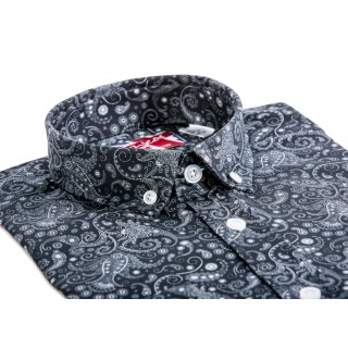 Black Paisley Mod Button Down Shirt