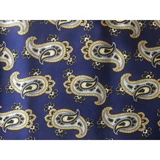 Retro French Navy With Large White Paisley Aviator Scarf
