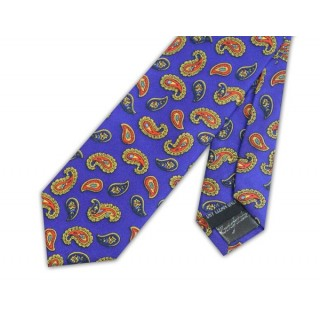 Final Sale : Royal Blue With Orange Paisley Silk Skinny Tie
