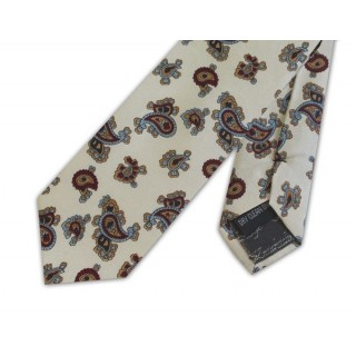 Cream With Burgundy Small Paisley Silk Skinny Tie