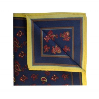 Final Sale : Navy With Yellow Small Paisley Printed Silk Pocket Square