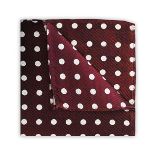 Burgundy With White Polka Dots Printed Silk Pocket Square