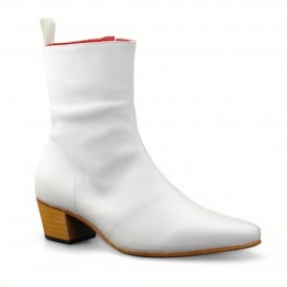 Reduced Sale Price : High Zip Boot - White Calf Leather