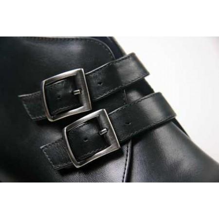 1960 Winkle.Picker : Jonny - 2 Buckle Black Ankle Boot