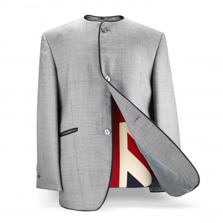 Collarless Jacket - Silver Grey