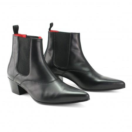 Winkle Picker Boot - Black Calf Leather