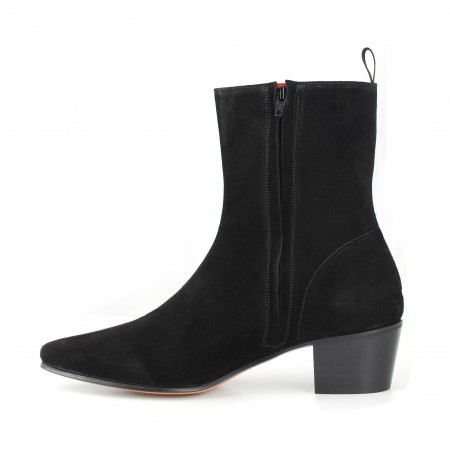 Zip Boot - Black Suede