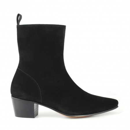 Reduced Sale Price : High Zip Boot - Black Suede