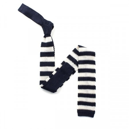 Navy And White Stripe Silk Skinny Knitted Tie