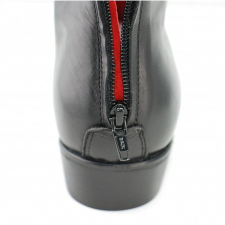 Sale : Back Zip Boot - Black Calf Leather-48 (UK 14 / US 14.5)
