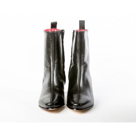 Women's Zip Boot - Black Calf Leather