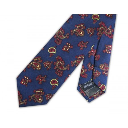 Navy With Yellow Small Paisley Silk Skinny Tie