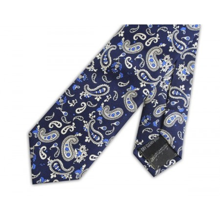 Final Sale : French Navy With White Paisley Silk Skinny Tie