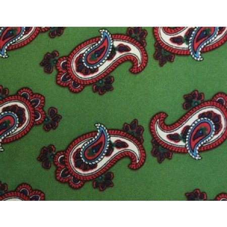 Olive Green With Red Paisley Silk Skinny Tie