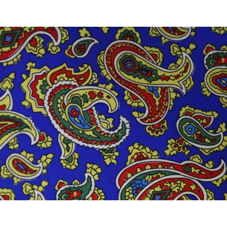 Final Sale : Blue With Red & Yellow Paisley Printed Silk Pocket Square