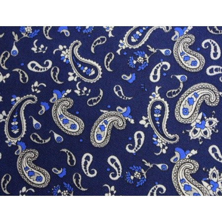 Final Sale : French Navy With White Paisley Printed Silk Pocket Square