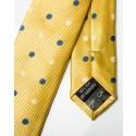 Final Sale : Yellow With Navy & White Polka Dots Silk Skinny Tie