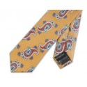Final Sale : Vintage Gold With Red Paisley Silk Skinny Tie