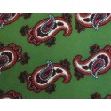 Olive Green With Red Paisley Printed Silk Pocket Square
