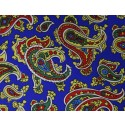 Blue With Red & Yellow Paisley Printed Silk Pocket Square