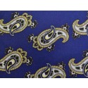 Retro French Navy With Large White Paisley Silk Skinny Tie